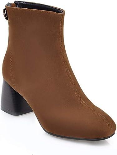 ZHRUI Stiefel para damen - Simple Plus Velvet Thick con tacón Alto Stiefel de Gamuza Mate Stiefel para damen   34-43 (Farbe   braun, tamaño   37)