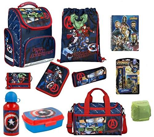 Familando Avengers Schulranzen-Set 16-TLG. mit Dose Flasche Sporttasche Federmappe Regenschutz