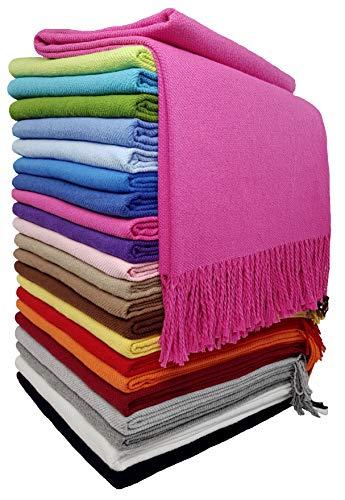 STTS International Baumwolldecke Wohndecke Kuscheldecke Tagesdecke 100% Baumwolle 130 x 170 cm sehr weiches Plaid Rio Rosa-1