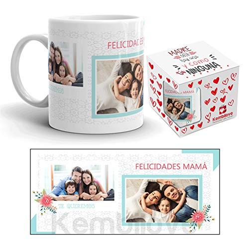 Kembilove Tazas Desayuno Feliz día de la Madre – Taza Desayuno Regalos Originales Madres – Taza de Café para Mamá Personalizada con Foto – Taza Desayuno Regalos Originales Madres