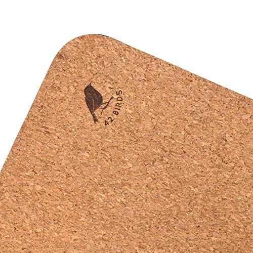 "42 Birds Cork Yoga Mat Lightweight, Soft, Travel Yoga Mat, Non Slip for Hot Yoga, Premium, 100% Recycled Cork - 72"" x 24"", 5mm Thick, 2.5lbs,"