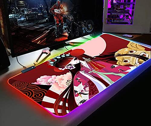 Alfombrillas de ratón RGB Flower Denier para Jugador, Alfombrilla de Ratón Grande para Juegos XXL, Accesorios de Alfombra para Teclado de Escritorio de Ordenador, Impermeable 700X300X4Mm