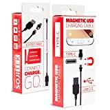 SOJITEK Genuine Detachable Magnetic Charging Charger (No Data Sync, No Fast Charge) 3.3FT (2A) Cable with USB Type C Magnetic Connector for USB Type C to USB Type A