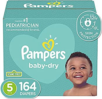 Diapers Size 5 164 Count - Pampers Baby Dry Disposable Baby Diapers ONE MONTH SUPPLY
