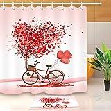 Wasserdichtes Valentinstag-Liebesbaum-Fahrrad Duschvorhang, wasserdicht & waschbar, 12 Haken, Badezimmerdekoration