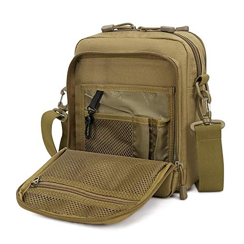 Huntvp Small Canvas Messenger Bag Small Tactical Bag Crossbody Casual Pack Molle Pouch Travel Purse (Brown)