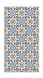 Panorama Alfombra Vinílica Azulejo Oriental Azul 60x200 cm - Alfombra Cocina Vinilo - Alfombra Salón Antideslizante e Ignífuga - Alfombras Grandes - Alfombras PVC