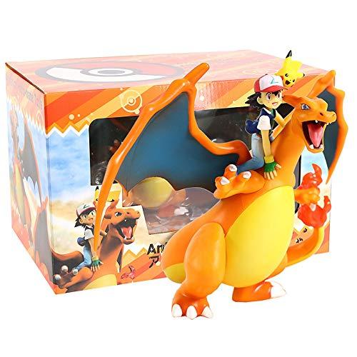 zzyou Anime Dibujos Animados Pokemon Ash Ketchum Charizard Figuras De Acción Juguetes 16 Cm, Figura De PVC Modelo Coleccionable Muñeca Regalo