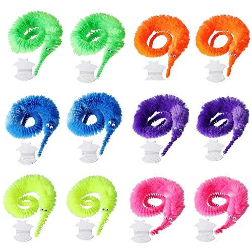 Amasawa 12 Stück Magische Raupe,Magie Plüsch Twisty Wurm Wiggle Bewegen,Auf Karnevalsparty Gefälligkeiten Anwenden, Spielzeug für Kinder und Katze (6 Farben)