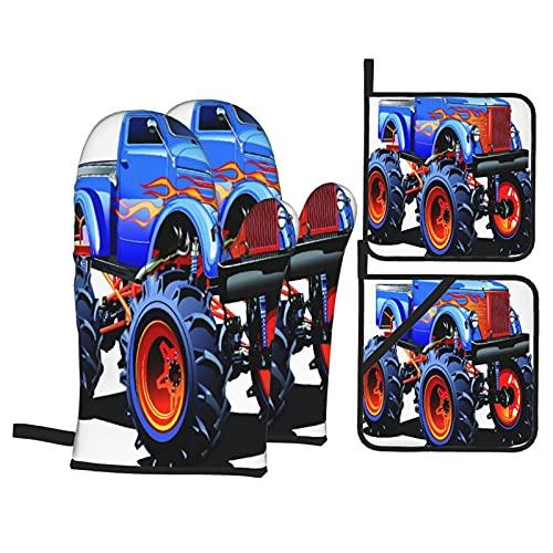 ASNIVI Guantes y agarraderas para Horno, Dibujos Animados Monster Truck Neumáticos enormes Off Road Heavy Large Tractor Ruedas Turbo,Guantes Resistentes al Calor Guantes aislantes , para cocinar