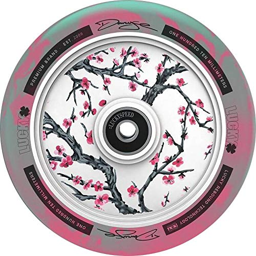Lucky Stunt-Scooter Hollowcore Signature Roller Wheel 110 mm + Fantic26 Pegatinas (Darcy Evans Cherry Blossom Turquesa/Rosa)