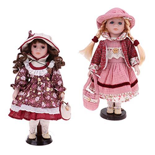 perfeclan Figura De Acción Clásica De Las Muñecas De Las Muchachas De Las Muchachas De La Porcelana De Los 30cm con Los Accesorios del Sombrero del Vestido