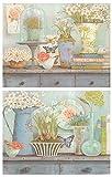 Cuadro de Flores tonalidades Azul Pastel/Placas de Madera. Set de 2 Cuadros de 19 cm x 25 cm x 4 mm unid. Adhesivo FÁCIL COLGADO. Adorno Decorativo. Decoración Pared hogar