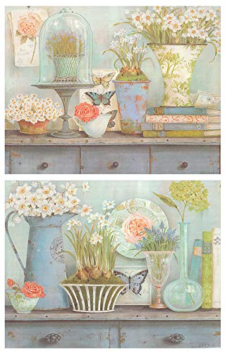Cuadro de Flores tonalidades Azul Pastel/Placas de Madera. Set de 2 Cuadros de 19 cm x 25 cm x 6 mm unid. Adhesivo FÁCIL COLGADO. Adorno Decorativo. Decoración Pared hogar