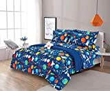 8 Piece Full Size Kids Boys Comforter Set Bed in Bag with Shams, Sheet Set, Decorative Toy Pillow, Space Planets Print Blue Multicolor Kids Bed Cover with Sheets, Full 8pc Space Theme