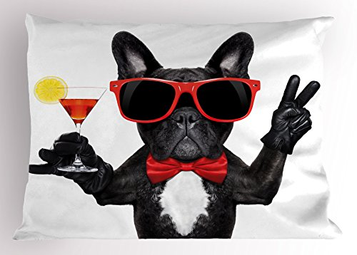 Ambesonne Funny Pillow Sham, French Bulldog Holding Martini Cocktail Ready for The Party Nightlife Joy Print, Decorative Standard Size Printed Pillowcase, 26' X 20', White Black