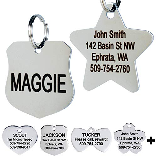 GoTags Stainless Steel Pet ID Tags, Personalized Dog Tags and Cat Tags, up to 8 Lines of Custom Text Engraved on Both Sides, in Bone, Round, Heart, Bow Tie, Flower, Star and More (Badge, Regular)