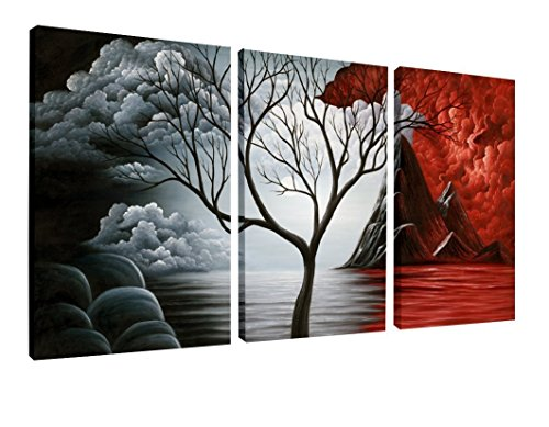 Wieco Art - Large Size The Cloud Tree 3 Panels Modern Giclee Canvas Prints Artwork Abstract Seascape Paintings Reproduction Sea Beach Photo Printed on Canvas Wall Art Ready to Hang for Living Room Bedroom Home Decoration