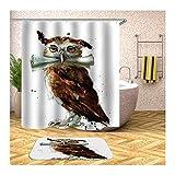 Aeici Badteppich 40X60 Eine Eule Badvorhang Vintage Polyester Badematte und WC Vorleger Set Bunt...