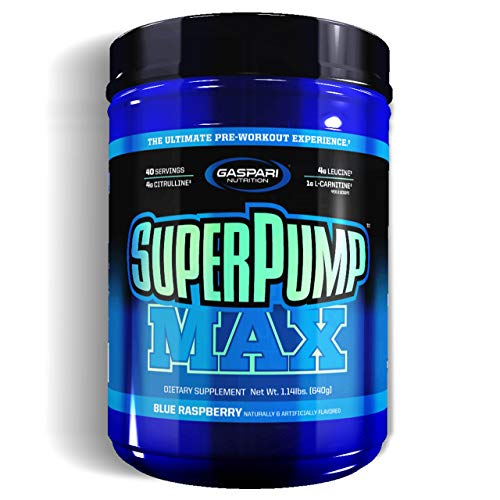 Gaspari Nutrition Super Pump Max 1 Pack x 640g - Pre-Workout Supplement - Energy, Stamina and Focus - with Caffeine and Amino acids - Full of Vitamins and Minerals (Blue Raspberry)