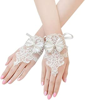 Women's Floral Lace Gloves Short Bow Gloves for Wedding