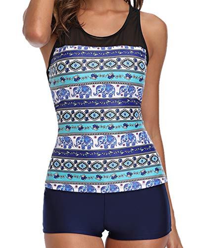 Yonique Tankini Swimsuits for Women with Shorts Athletic Two Piece Bathing Suits Racerback Tank Tops Swimwear, Small, A-Blue Mandala