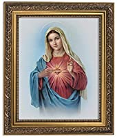 Gerffert Collection Sacred Heart of Mary Framed Portrait Print, 13 Inch (Ornate Gold Tone Finish Frame) [並行輸入品]