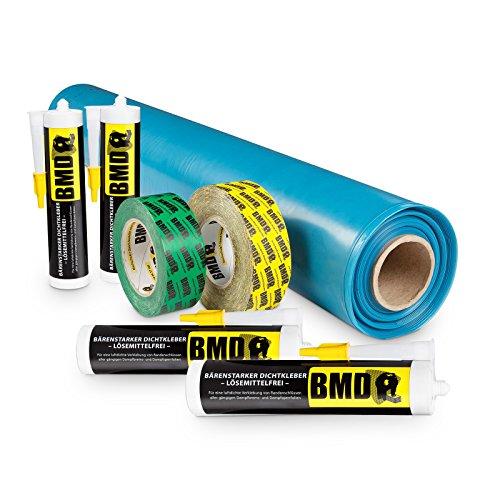 BMD 100m² Dampfbremssystempaket nach DIN 4108 Teil 7 & ENEV Dampfsperrfolie Dampfbremsfolie Dampfbremse Dampfsperre Klebeband Folienkleber CE Siegel