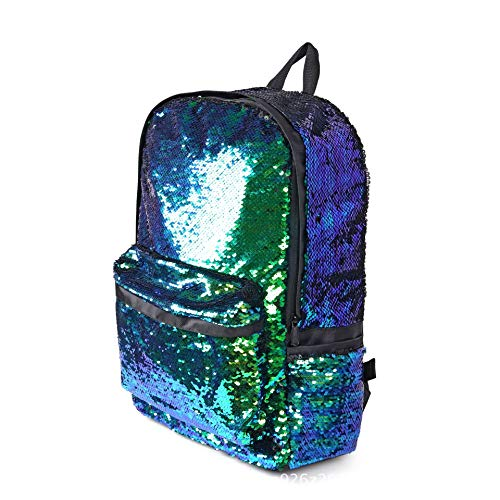 Olivia リバーシブル マジックマーメイドバックパック スパンコール スクールバックパック 旅行バッグ 学生デイパック 16インチのノートパソコンに対応