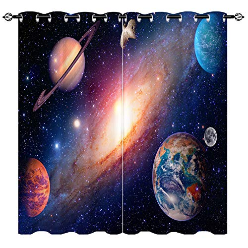 ANHOPE Planet Curtains, Semi Blackout Curtains with HD Printed Earth Mars Mercury Jupiter, Outer Space, Galaxy Pattern, Grommet Curtains for Living Room Bedroom, 2 Panels, 52 X 63 Inch, Blue Black