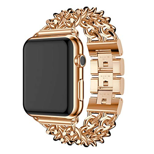 Alloy Denim Chain Stainless Steel Watch Band for Apple Watch 40mm 44mm Bracelet Bangle Cuff Wristbands Women Replacement Strap for iwatch 38mm 42mm Series 4 3 2 1