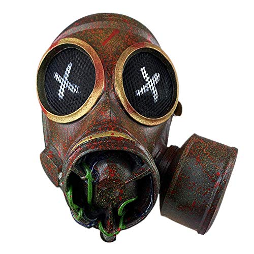libelyef Halloween Maske, Gruselige Beängstigende Retro Tarnung Latex Punk Gasmaske Kopfbedeckung Outdoor Performance Dekoration Requisite Für Erwachsene Party Dekoration Requisiten