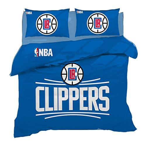 QWAS Ropa de cama Los Angeles Clippers, regalo infantil, fácil de limpiar, adecuada para todas las estaciones, 1,135 x 200 cm + 50 x 75 cm
