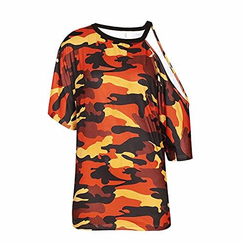 Camiseta de mujer sin tirantes de camuflaje, túnica, camiseta, camiseta, camiseta, camiseta, camiseta, camiseta, camiseta, blusa, túnica naranja XXL