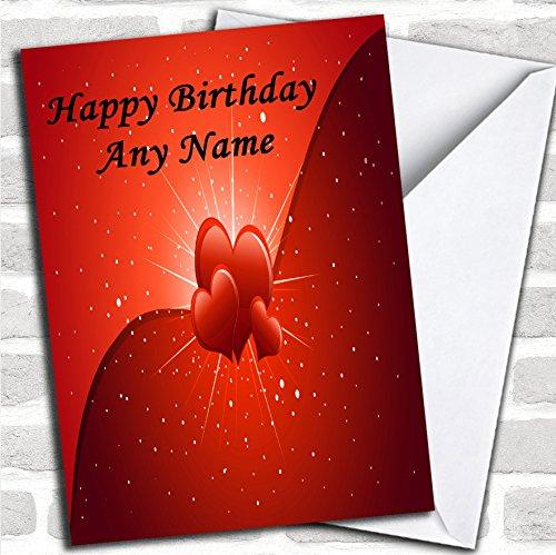Hartjes En Sterren Romantische Verjaardagskaart Met Envelop, Kan Volledig Gepersonaliseerd, Verzonden Snel & Gratis