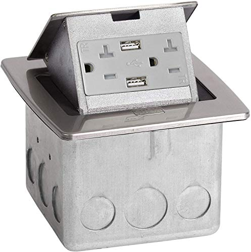 Lew Electric PUFP-CT-SS-20A-2USB Pop Up Electrical Outlet Box for Countertops, 2 USB Smart Ports Included, Waterproof 20 Amp GFCI Receptacle for Kitchens, Offices, and More - Stainless Steel
