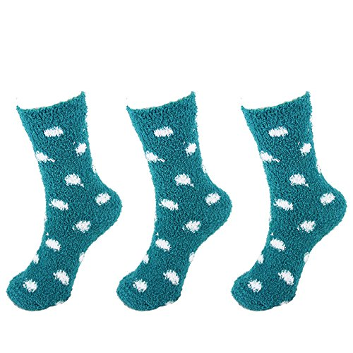 Super Soft Warm Microfiber Cozy Fuzzy Polka Dot Socks - 3 Pairs - 11 Teal