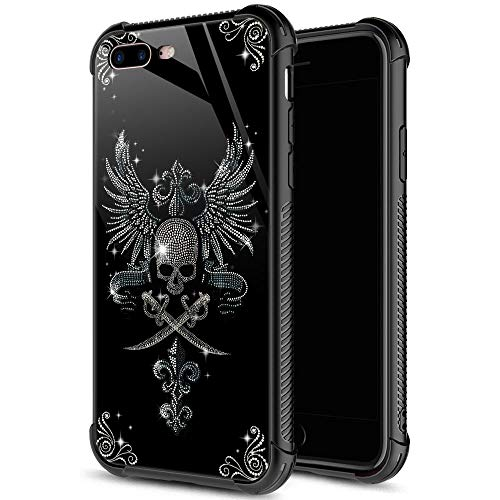 iPhone 8 Plus Case, Diamond Skull iPhone 7 Plus Cases for Girls, 9H Tempered Glass Back+Soft Silicone TPU Shock Protective Case for Apple iPhone 7/8 Plus