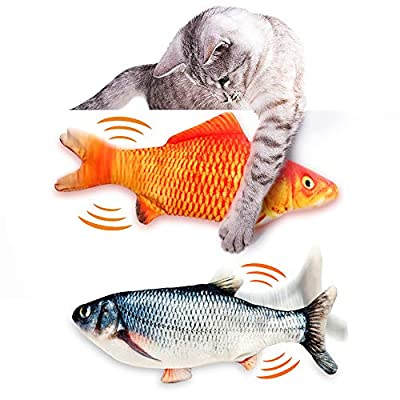 2 PACK Interactive Fish Cat Toy for Indoor Cats, Electric Dancing Flipping Fish Cat Toy for Cats with Catnip Toys Realistic Moving Cat Kicker Fish, Simulation Plush Fish Shape Toy Doll for Cats Kitten