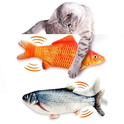 Fairwin Catnip Giocattoli per Gatti, 2 Pack Pesce Giocattolo per Gatto, Giocattolo interattivo Gatto, Simulazione Peluche di Pesce Giocattoli Interattivi per Gatti Gatto Cuscino con USB Ricaricabile