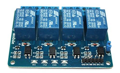 4-Kanal-Relais-Modul, 5V Relay-Module mit Optokoppler, Status-LEDs für Arduino und Raspberry Pi