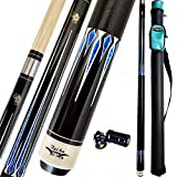 """TaiBA 2-Piece Pool Stick + 1x1 Case,13mm Tip, 58"""", Hardwood Canadian Maple Professional Billiard Pool Cue Stick 19-21 Oz (Selectable)-Blue, Black, Red, Gray, Green, Brown…"""