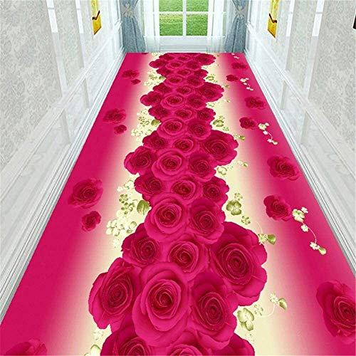 Fashion Rose Teppich Läufer for Flur weiche rutschsichere feuchtigkeitsfest Boden Lange Läufer Teppiche Matte for Flur/Küche/Schlafzimmer/Treppen Größe: 100x400cm Hall Rugs (Size : 80x500cm)
