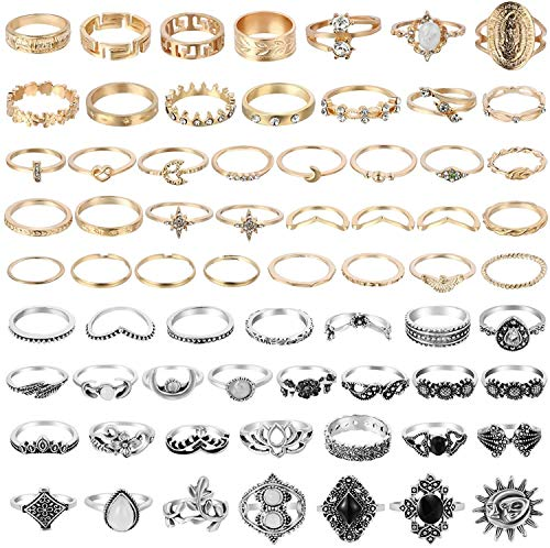 BeYumi 67Pcs Vintage Knuckle Rings Set Stackable Finger Rings Midi Rings for Women Bohemian Hollow Carved Flowers Gold&Silver Rings Crystal Joint Rings with Storage Bag