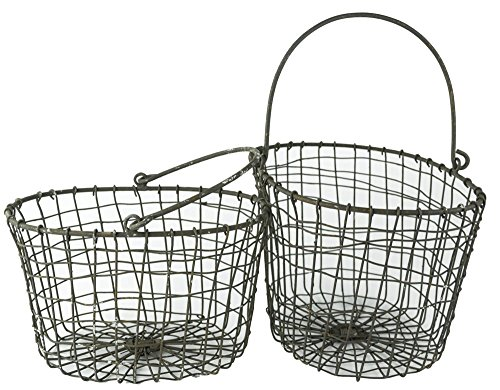 Red Co. All-Purpose Country Rustic Small Basket Display Bin, Gray Iron Metal Wire with Wooden Handle, Set of 2- Large- 10 Inches and Small- 8.75 Inches