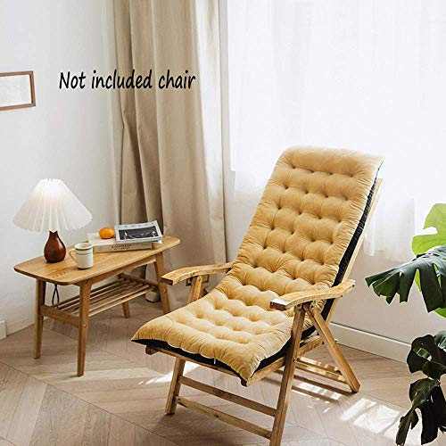 YANJ Thickened Sun Lounger Cushion,Soft Recliner Relaxer Cushion,Folding Wicker Chair pads Bench Mat Garden Chair Cushi. (Color : Beige, Size : 125 * 50 * 10cm)