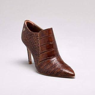 Ankle Boot Croco Couro Nocciola