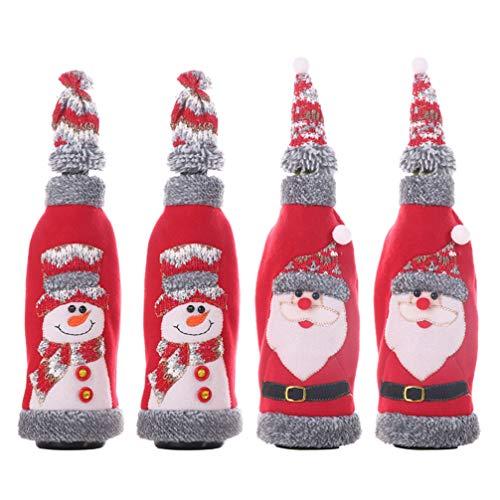 Cabilock 4pcs grau Flanell getrimmt Weinflasche Abdeckung Weihnachten Flasche Ärmel mit Cap Table Decor (Santa und Schneemann)