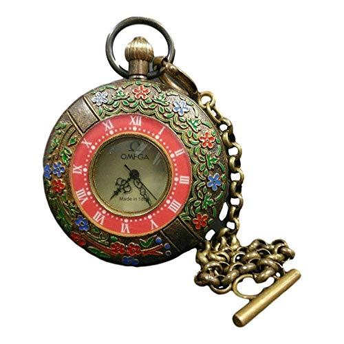 FEEE-ZC Cobre devuelto Cloisonne Reloj de Bolsillo Antiguo Doble Abierto Omega One Piece Imitación de Bronce Antiguo colección de Obra Maestra de joyería de Estilo Tradicional Chino Solitaria
