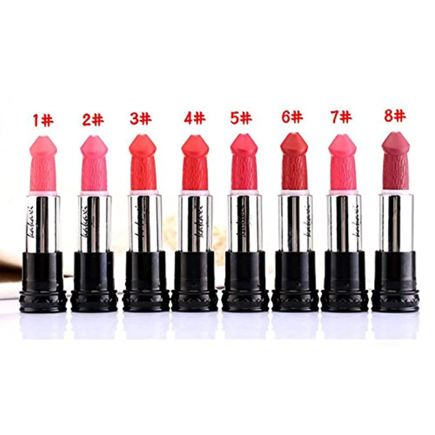 猫背フラフープクリープ(#5) 8 Colors Penis Shape Mushroom Long Lasting Moisture Cosmetic Lipstick Lips Makeup Lipstick